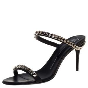 Giuseppe Zanotti Black Leather And Chain Embellishment Sandals Size 41