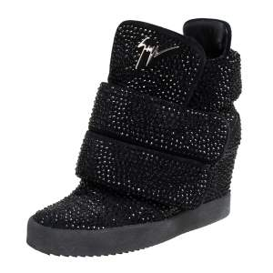 Giuseppe Zanotti Suede And Crystal Embellished High-Top Wedge Sneakers Size 39