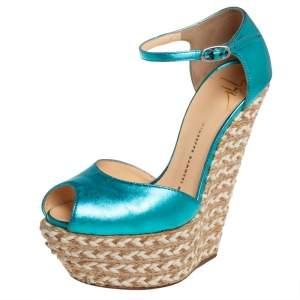 Giuseppe Zanotti Metallic Blue Leather Peep Toe Wedge Sandals Size 36