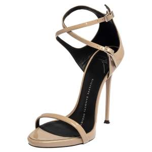 Giuseppe Zanotti Beige Patent Leather Open Toe Ankle Strap Sandals Size 35