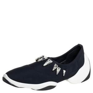 Giuseppe Zanotti Black Fabric Light Jump Lts Crystal Embellished Sneakers Size 38