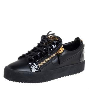 Giuseppe Zanotti Black Leather And Patent Leather Double Zipper Low Top Sneakers Size 36