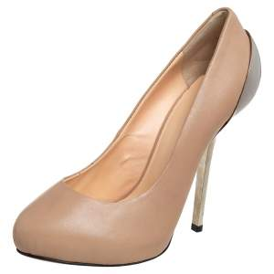 Giuseppe Zanotti Beige Leather Round Toe Pumps Size 36