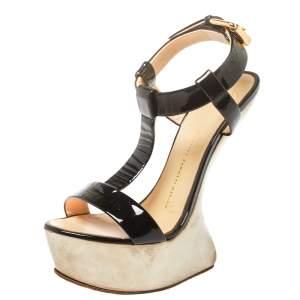 Giuseppe Zanotti Black Patent Leather T Strap Platform Heel Less Wedge Sandals Size 39