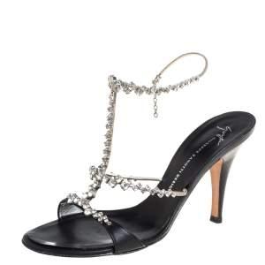 Giuseppe Zanotti Black Leather Crystal Embellished T Strap Sandals Size 38.5