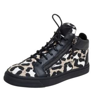 Giuseppe Zanotti Black/White Leather And Canvas High Top Sneaker Size 39