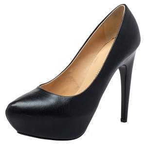 Giuseppe Zanotti Black Leather Platform Pumps Size 36.5