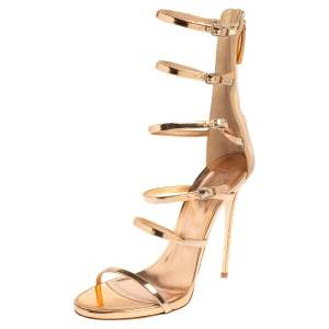 Giuseppe Zanotti Peach Patent Leather Alien Siutta Sandals Size 39.5
