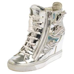 Giuseppe Zanotti Metallic Silver Leather Double Zip Wedge Sneakers Size 35