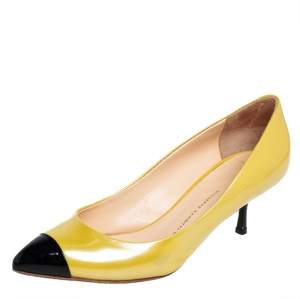 Giuseppe Zanotti Yellow/Black Patent Leather Cap Toe Pumps Size 38