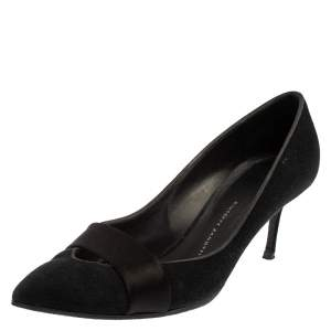 Giuseppe Zanotti Black Suede  Pointed Toe Pumps Size 37.5