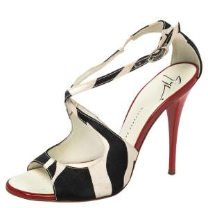 Giuseppe Zanotti White/Black Satin Ankle Strap Sandals Size 36.5