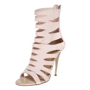 حذاء بوت جوسيبي زانوتي مفرغ جلد وردي مقاس 36