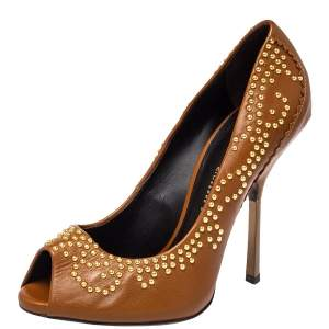 Giuseppe Zanotti Brown Leather Embellished Peep Toe Pumps Size 37.5