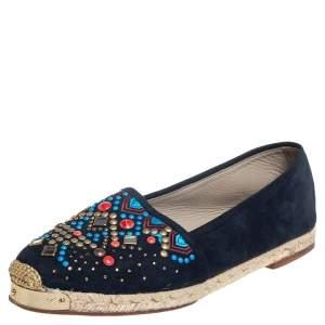 Giuseppe Zanotti Navy Blue Suede Embellished Flat Espadrilles Size 39