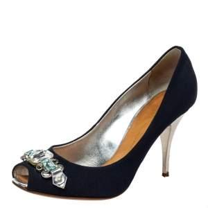 Giuseppe Zanotti Blue Fabric Embellished Peep Toe Pumps Size 38.5
