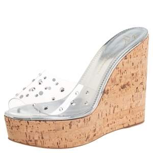 Giuseppe Zanotti Silver PVC Crystal Embellished Platform Wedge Slide Sandals Size 38.5