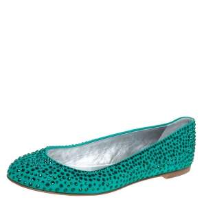 Giuseppe Zanotti Green Crystal Embellished Suede Ballet Flats Size 39