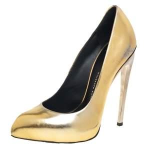 Giuseppe Zanotti Gold Leather Pumps Size 36