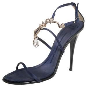 Giuseppe Zanotti Blue Satin Embellished Sandals Size 38.5