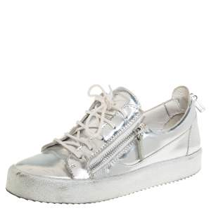 Giuseppe Zanotti Silver Leather Lace up Sneakers Size 40