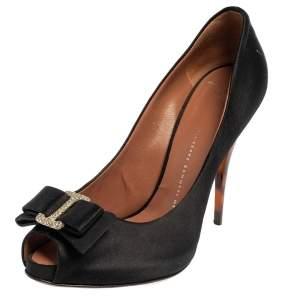 Giuseppe Zanotti Black Satin Bow Embellished Peep Toe Pumps Size 38.5