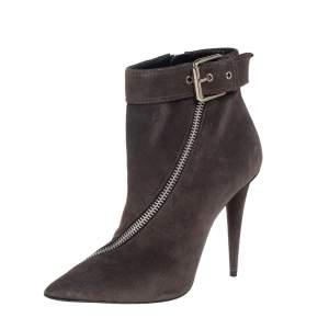 حذاء بوت للكاحل جوسيبي زنوتي بأبزيم وسحاب سويدي رمادي مقاس 39