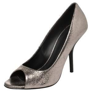 Giuseppe Zanotti Silver Crackle Leather Peep Toe Pumps Size 40