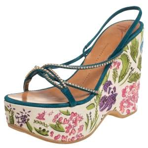 Giuseppe Zanotti Blue Suede Embellished Sandals Size 38