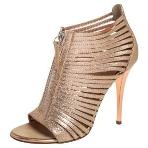 Giuseppe Zanotti Gold Glitter Leather Front Zipper Caged Sandals 36