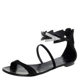 Giuseppe Zanotti Black Suede Embellished Flat Ankle Strap Sandals Size 39