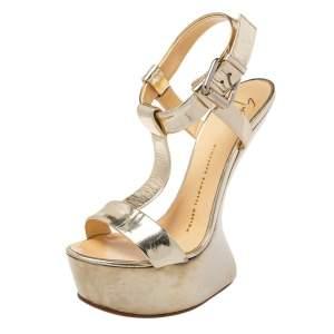 Giuseppe Zanotti Gold Patent Leather T-Strap Platform Sandals Size 37.5