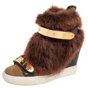 Giuseppe Zanotti Brown/Beige Leather And Beaver Fur Lorenz High Top Wedge Sneakers Size 36