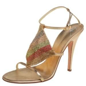 Giuseppe Zanotti Gold Leather Crystal Embellished Sandals Size 41