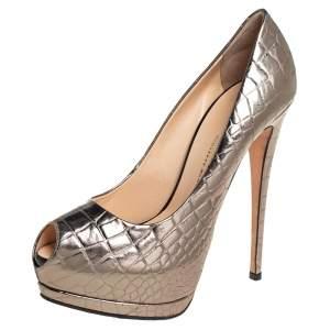 Giuseppe Zanotti Metallic Bronze Croc Embossed Leather Peep Toe Platform Pumps Size 39