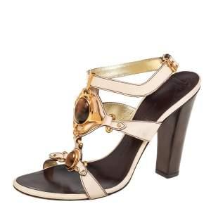 Giuseppe Zanotti Cream Leather Ankle Strap Platform Sandals Size 39