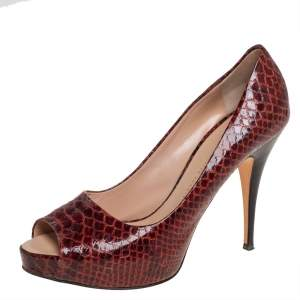 Giuseppe Zanotti Brown Python Embossed Leather Peep Toe Pumps Size 39