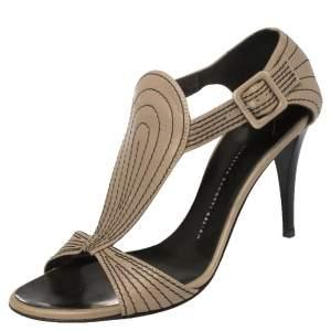 Giuseppe Zanotti Grey Leather Stitch Detail Ankle Strap Sandals Size 40.5