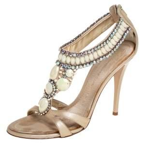 Giuseppe Zanotti Metallic Beige Leather Beaded Embellished Open Toe Sandals Size 39