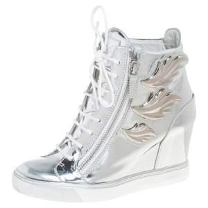 Giuseppe Zanotti Metallic Silver Leather Wings Double Zip Wedge Sneakers Size 40