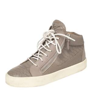 Giuseppe Zanotti Grey/Lilac Python Embossed Leather Double Zip High Top Sneakers Size 38
