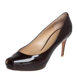 Giuseppe Zanotti Brown Patent Leather Peep Toe Pumps Size 41