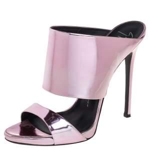 Giuseppe Zanotti Metallic Pink Leather Andrea Mules Size 40.5