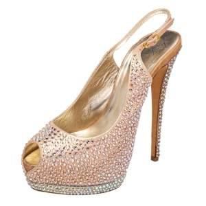 Giuseppe Zanotti Pink Leather Embellished Peep Toe Slingback Sandals Size 40
