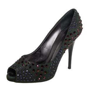 Giuseppe Zanotti Green Suede Crystal Embellished Peep Toe Pumps Size 39.5
