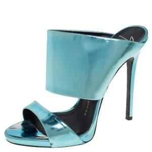Giuseppe Zanotti Metallic Blue Leather Wide Strap Sandals Size 37.5