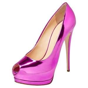 Giuseppe Zanotti Metallic Pink Mirrored Leather Peep Toe Platform Pumps Size 40
