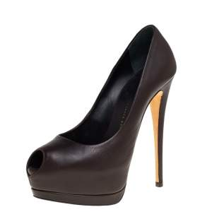 Giuseppe Zanotti Brown Leather Peep Toe Platform Pumps Size 36