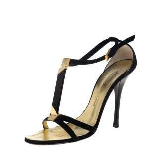 Giuseppe Zanotti Black Suede T Strap Sandals Size 38.5