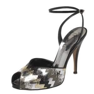Giuseppe Zanotti Black/Silver Zigzag Patent and Leather Mixed Media Peep Toe  Sandals Size 39.5